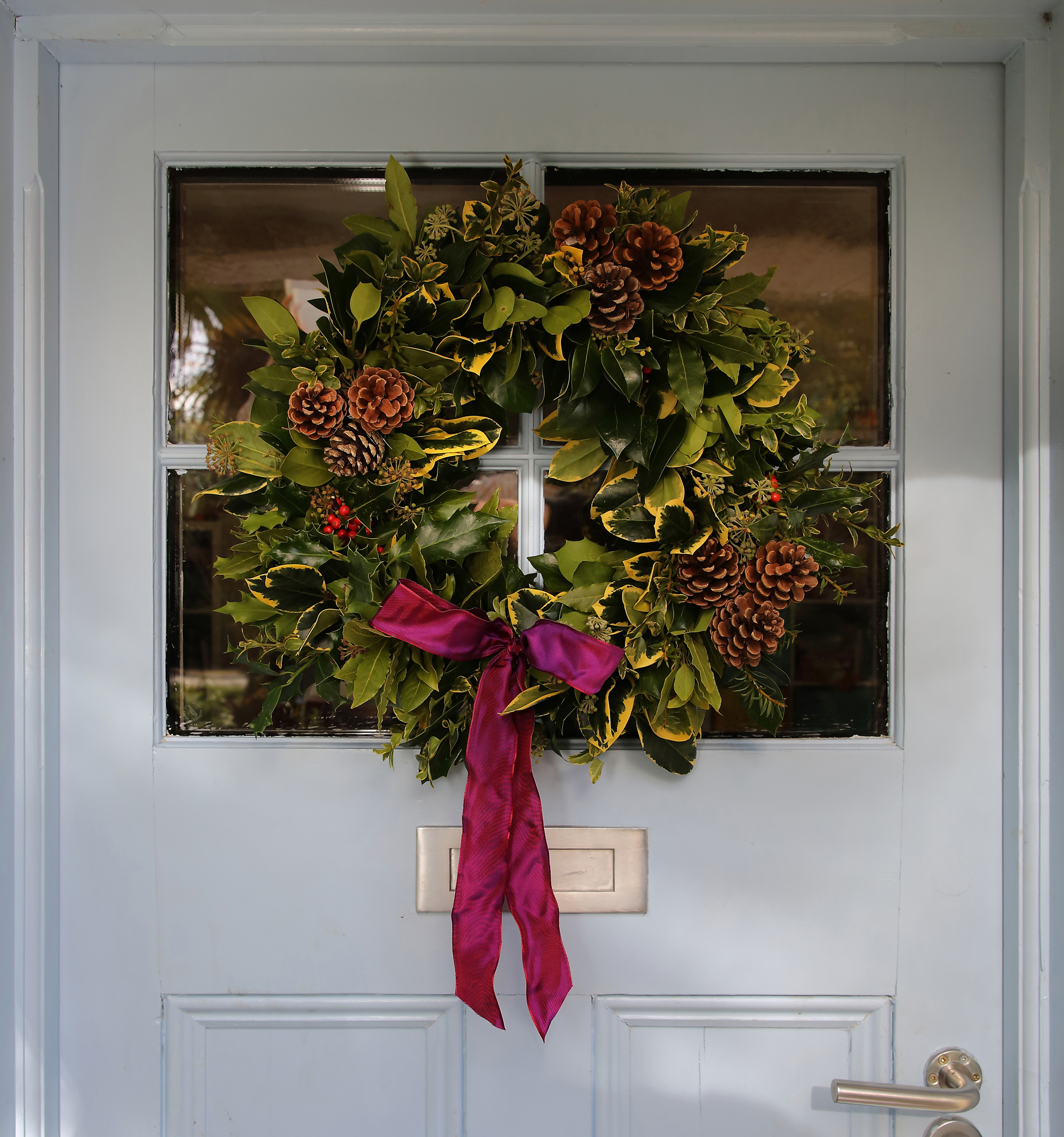 festive christmas wreath cornish blooms